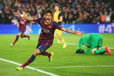 Neymar----rescues Barcelona from defeat against Atletico Madrid [1-1] in Champions League,April 2014