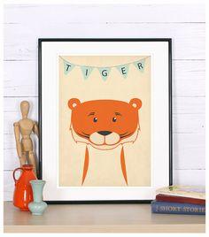 Retro poster, tiger, savannah, jungle animal, tiger cub, vintage print, A4, nursery wall decoration, retro wall decor, cute baby animal
