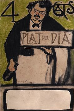 Menu for the Quatre Gats, Dish of the Day Pablo Picasso  c 1900, Wax and ink on paper, 45.5 × 29 cm The Hunt Museum, Limerick, MG145, © Succession Pablo Picasso, VEGAP, Madrid 2018