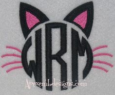 53 Ideas Embroidery Cat Tutorial For 2019 Apex Embroidery, Embroidery Letters, Flower Embroidery Designs, Embroidery Fonts, Applique Designs, Embroidery Ideas, Cat Applique, Applique Monogram, Monogram Fonts