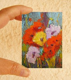 Original ACEO flower painting - Miniature art trading card, original ATC 2.5 by 3.5 in - Poppy Melange oil pastel floral painting, SFA