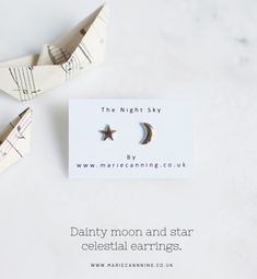 Handcrafted gold ceramic celestial jewellery by Marie Canning. Thoughtfully handmade gold moon and star studs crafted in recycled porcelain clay. Nature inspired jewellery and accessories, all crafted in Yorkshire.