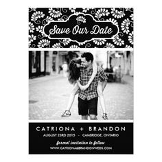 Black Floral Pattern | Save The Date Announcement Invitation Card