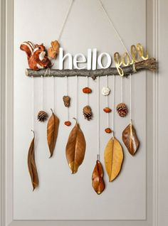 Fall Decorating 83252 make an autumn mobile in driftwood branch with hanging autumn leaves and pine cones, small figurines decorations Fall Crafts For Kids, Diy And Crafts, Diy Autumn Crafts, Small Figurines, Welcome Fall, Autumn Activities, Art Activities, Nature Crafts, Space Crafts