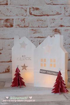 Aus einer schlichten Papiertüte wird ganz fix eine wunderschöne Lichtertüte in Hausform. Ich zeige euch wie es geht.