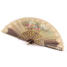 Vintage ladies folding hand fan