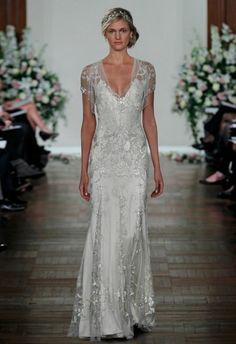 Vintage V-Neck Beads/Sequins Mermaid Vestidos De Festa Cap Sleeve Sliver Long Jenny Packham Evening Dress Prom Dresses 2017