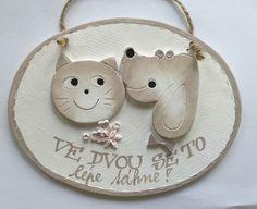 Cedulka oválná kočka pes pár kapučínová malá :: Keramika Andreas