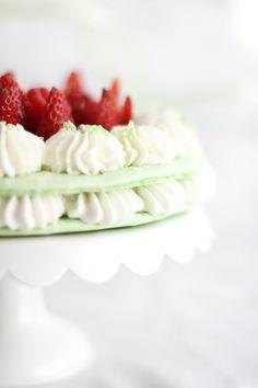 Harmonie: A Macaron Cake from the Ladurée Sucré Book | Sprinkle Bakes Macarons, Macaron Cake, Cupcake Cakes, Cupcakes, Just Desserts, Delicious Desserts, Dessert Recipes, Yummy Food, Cupcake Recipes
