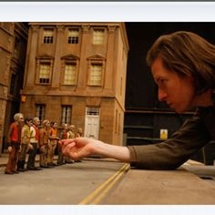 Wes Anderson on the set of The Fantastic Mr. Fox