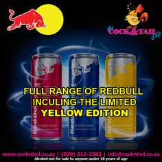 Yellow is the new black, we are speaking about the new limited edition – Redbull of course The Cock & Tail Café are proud to be 1 of the 100 selected nationwide restaurants to… Energy Drinks, Shot Glass, Cocktails, Alcohol, Yellow, Restaurants, Instagram, Diners, Liquor