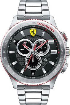 Ferrari Scuderia Chronograph Black Dial Stainless Steel Mens Watch 830152