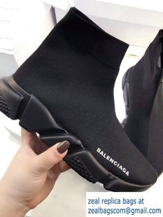 Balenciaga Knit Sock Speed Trainers Sneakers All Black 2017
