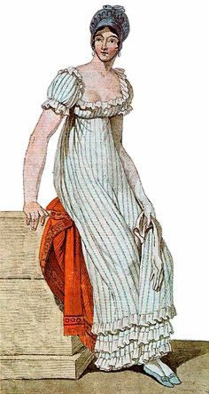 blue and white striped regency dress with ruffles 1810