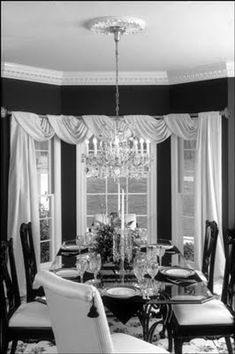Black Dining Room Curtains New Design Tip Of the Week 8 3 09 Curtain Call Dining Room Curtains, Dining Room Windows, Curtains And Draperies, Bay Windows, Valances, Black Curtains, Kitchen Windows, Bedroom Windows, Bedroom Curtains