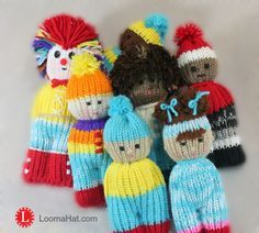 Loom Knit Dolls - Easy to make - one stitch - one long tube - a little sewing. FREE Pattern with Video Tutorial