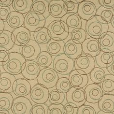 C580 Beige Brown Green Overlapping Circles Durable Upholstery by the Yard