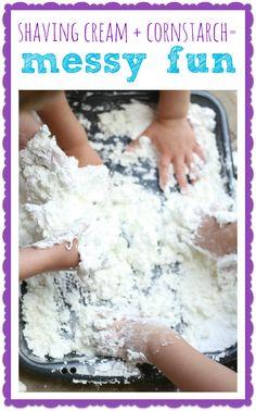 Shaving Cream + Cornstarch = Messy Fun!
