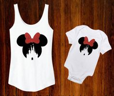 Definitely getting these for our next trip! Gotta match baby girl :) /// Minnie Mouse Cinderella Castle Disney World Inspired by TheBizziB Disney 2017, Disney Diy, Disney Dream, Baby Disney, Disney Style, Disney Crafts, Disney Cruise, Disney Shirts, Disney Outfits