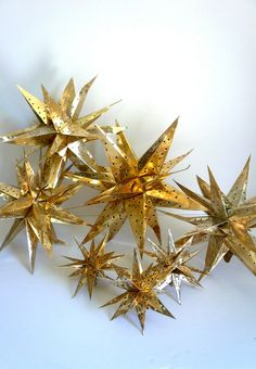 Vintage Christmas Mid Century Ornaments Gold Foil Moroccan Stars
