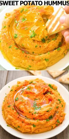 This Sweet Potato Hummus makes a perfect healthy snack that's packed with flavor. You'll be surprised how delicious it i Gourmet Recipes, Appetizer Recipes, Vegetarian Recipes, Cooking Recipes, Healthy Recipes, Healthy Snacks Vegetarian, Healthy Dips, Work Lunches, Healthy Lunches