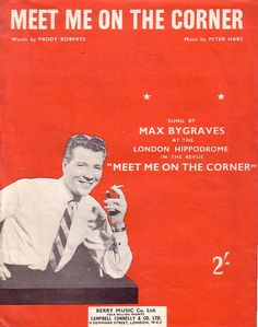Max Bygraves Meet me on the Corner Sheet Music for Piano & Voice 1955