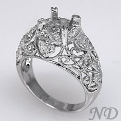 Antique Style Filigree Ring Setting w/ 0.37ct Diamonds