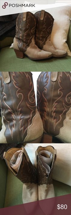 """Handcrafted Cowboys Boots I got these boots from an independently owned leather shop in Virginia City, Nevada ( """"out west""""). I met the guy who made them. I've had the soles on the heels replaced by a professional cobbler. Suede and leather  with bronze toe tips. Only defect is flaking on the rim of the left boot. Size says 8.5, but the fit is 8. Handcrafted Shoes Heeled Boots"""