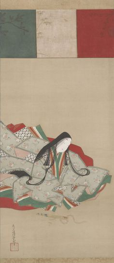 Japan, hanging scroll, Portrait of a Heian Court Lady, by Tosa Mitsuoki, 1617 - 1691, ink and color on silk, late 17th c