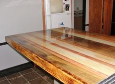 Butcher Block Kitchen Table Shon Built It From Scratch Then We Stained