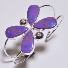LOVELY PURPLE COPPER TURQUOISE .925 SILVER HANDMADE BANGLE CUFF JEWELRY R674 #Handmade
