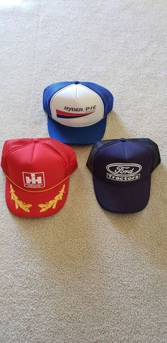 fc9ca8f59a17a Lot of 3 Mesh Foam Snapback Trucker Hats IH Ford Ryder  TruckerHat Ball Caps
