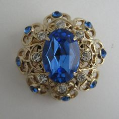 Vintage Signed Coro Sapphire Blue Rhinestone Dome Goldtone Pin Brooch Gorgeous | eBay