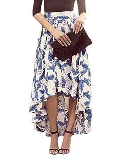Women's Maxi High Low Blue And Ivory Floral Print Pleated Long Skirt(Pink,Blue)