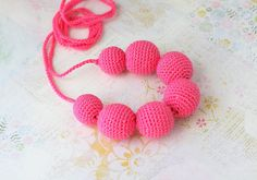 Hot pink Nursing necklace,  Mommy Teething necklace Breastfeeding necklace Girls Jewelry Fashion accessory on Etsy, $25.00