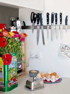 When you have a small kitchen (I do), creative problem solving stops becoming a resume catchphrase and starts becoming a way of life. Configuring cookware and food and utensils—while trying to keep it all from looking like a mad scientist's lab—isn't easy. Here are 10 great posts in one place to offer some tips, tricks and inspiration for all of us fighting the good I-dream-of-kitchen-storage fight.
