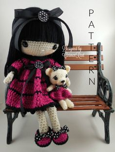Leila 17 and her Teddy Bear-Amigurumi Doll Crochet by CarmenRent