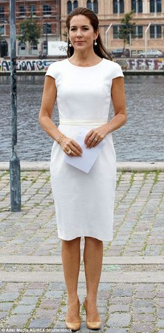 Dignified: Mary wore a capped-sleeve fitted dress with nude stilettos at the Women Deliver network event in September