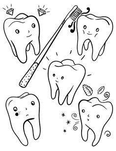 Printable tooth coloring page. Free PDF download at http://coloringcafe.com/coloring-pages/tooth/
