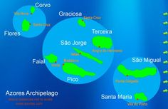 """There are more than 800 islands in Azores, but only the nine largest are usually noted on maps.  All are volcanic in origin, and the island grouping reflects the facts that they sit over the juncture of three geologic plates.  This map shows that grouping.  Flores and Corvo are on the North Atlantic plate and were referred to in the past as the """"Western Isles""""."""