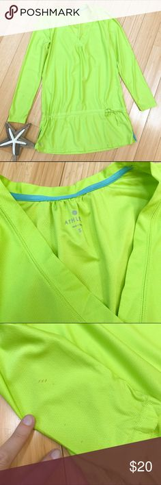 ATHLETA swim suit coverup, S. Athleta bright yellow green bathing suit cover size small. Cinch at waist. You can wear this loose or tighten it up for a cute little poof with the skirt. Bust is 18.5 inches, length is 30 inches. There is a small blemish on one sleeve near the wrist. Please see picture. If you don't mind that, this is a great cover up at an excellent price. Athleta Swim Coverups