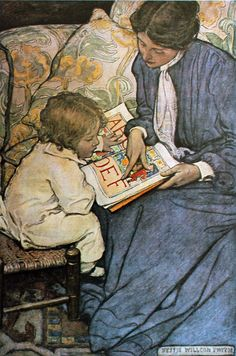 A beautiful bookish work of art by Jessie Willcox Smith.