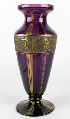 "Moser Karlsbad Czech Art Deco Gold Encrusted Signed Roman Warrior Amethyst Vase - Size 12.5""H x 5.25W - eBay<3<3<3GORGEOUS<3<3<3"