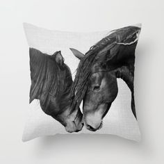 Horses - Black & White 4 Couch Throw Pillow by Gal Design - Cover x with pillow insert - Indoor Pillow Throw Cushions, Couch Pillows, Designer Throw Pillows, Down Pillows, Accent Pillows, Floor Pillows, Western Bedrooms, Fluffy Pillows, Monochrome Photography