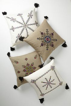 Embroidered Fesi Pillow - mediterranean - pillows - Anthropologie (tassels in the four corners) Pillow Embroidery, Ribbon Embroidery, Embroidery Designs, Moroccan Decor, Moroccan Style, Cushion Covers, Pillow Covers, Diy Pillows, Throw Pillows