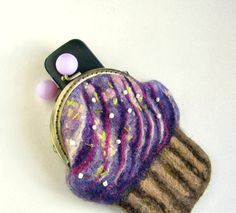Wool Felt Violet CUP CAKE with cream and CHERRY  coin ♥ by MSbluesky, $46.00