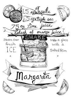 Margarita Originalzeichnung Linie - klassische Cocktails, wollen es war Sommer... Cinco De Mayo, Tequila eine einer Art Rezept-Zeichnung von KLoRebel