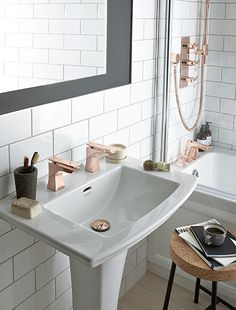 Rose gold taps and shower.