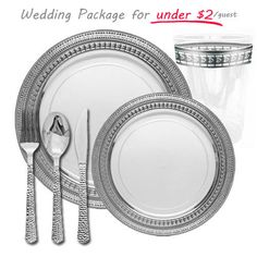 ... for 100 $199.99 (//.poshpartysupplies.com/elegant-dinnerware /party-package/symphony-collection-white-with-silver-wedding-package-for-100 /)  sc 1 st  Pinterest & Posh Party Supplies - Stunning Disposable White with Silver Rim ...