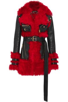 Black leather, red shearling Zip fastening through front 100% leather and shearling (Lamb) Specialist clean Made in Italy